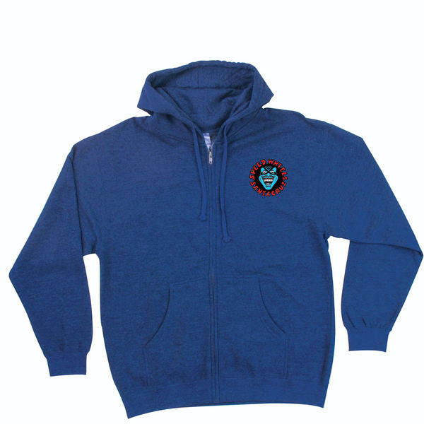 Santa Cruz Screaming Hand Hooded Zip L/S - Royal Blue Heather - Men's Sweatshirt