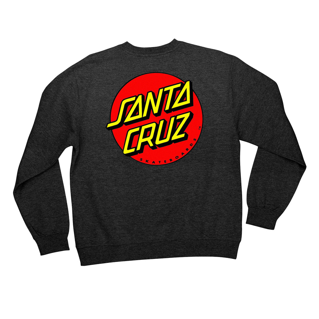 Santa Cruz Classic Dot Crew Neck L/S - Charcoal Heather - Men's Sweatshirt