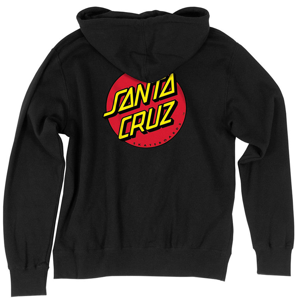 Santa Cruz Classic Dot Hooded Zip L/S - Black - Youth Sweatshirt