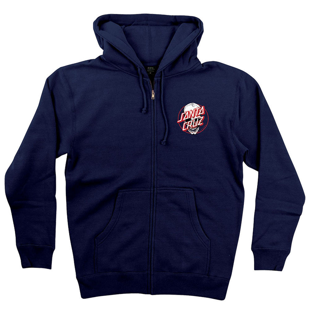 Santa Cruz Deadpool V2 Hooded Zip Up L/S - Navy - Men's Sweatshirt