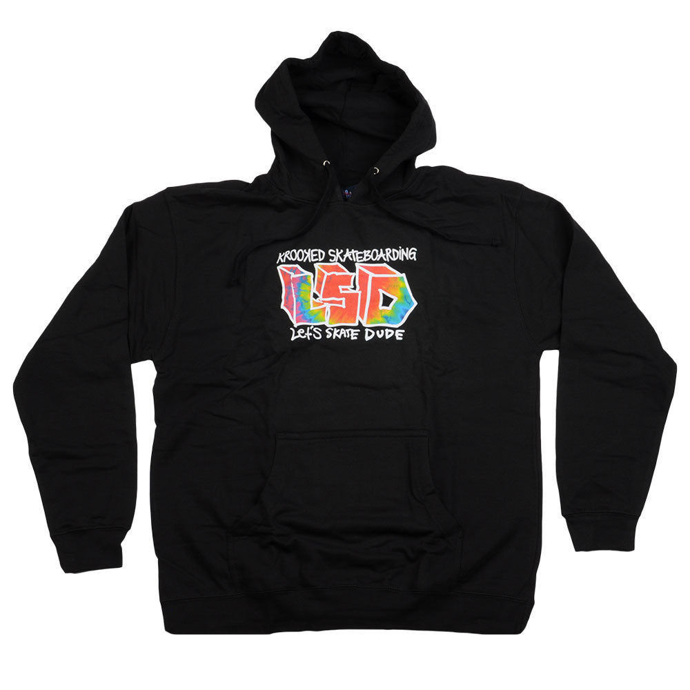 Krooked Lets Skate Dude Hooded Pullover - Black - Men's Sweatshirt