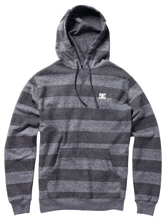 DC Rebel Stripe Hoodie - Heather Grey - Men's Sweatshirt