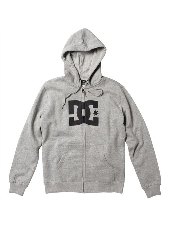 DC Star 1 Zip Hoodie - Heather Grey/Black - Men's Sweatshirt