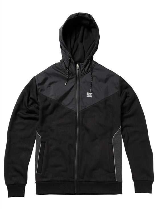 DC Battery Fleece Zip Hoodie - Black/Grey - Men's Sweatshirt