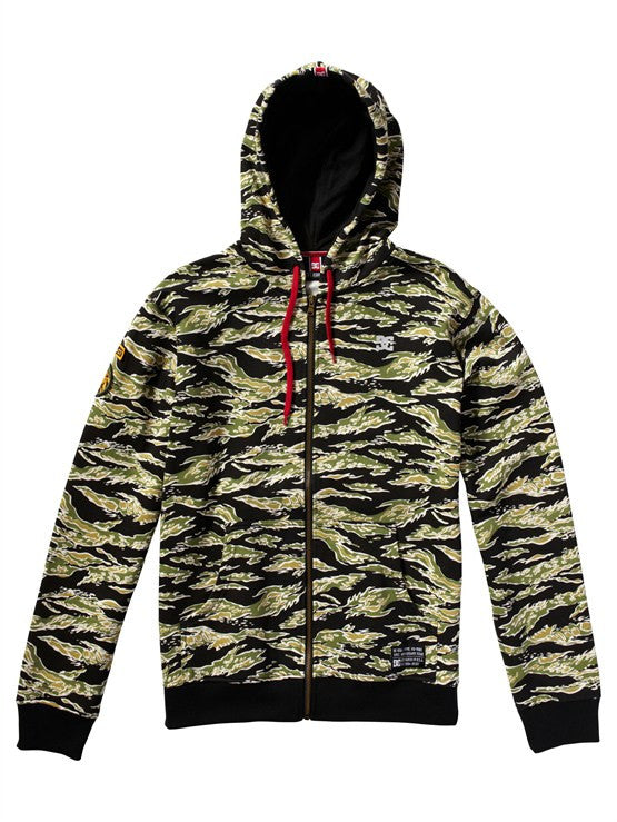 DC Rob Dyrdek Tigerstripe Zip Hoodie - Military Green Camo - Men's Sweatshirt