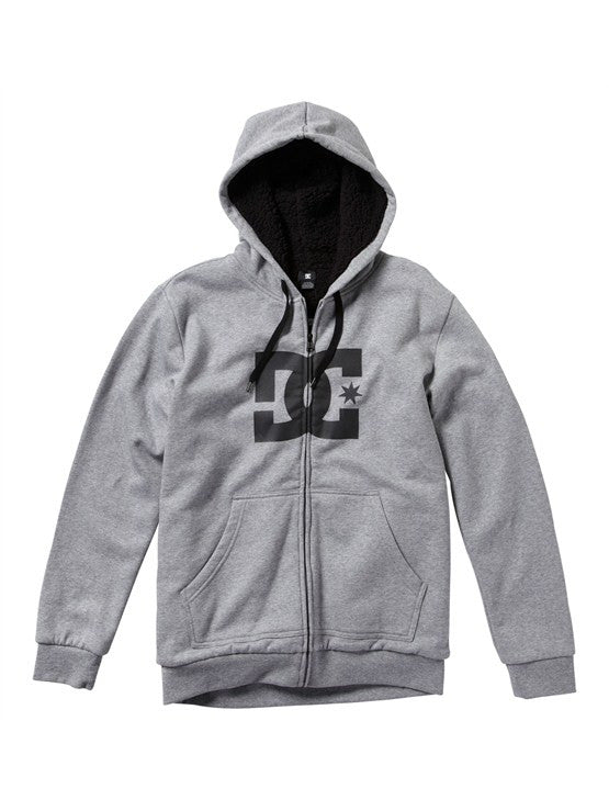 DC Star Shearling Zip Hoodie - Heather Grey - Men's Sweatshirt