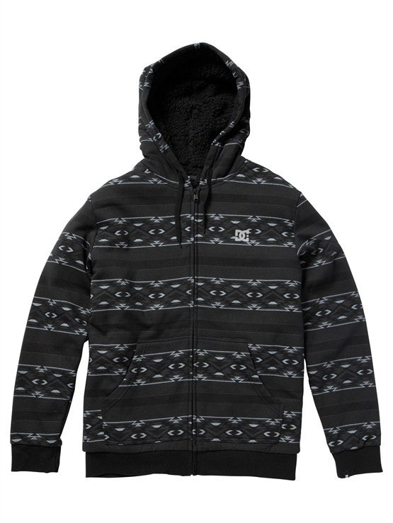 DC T-Star Shearling Printed Zip Hoodie - Black Print - Men's Sweatshirt