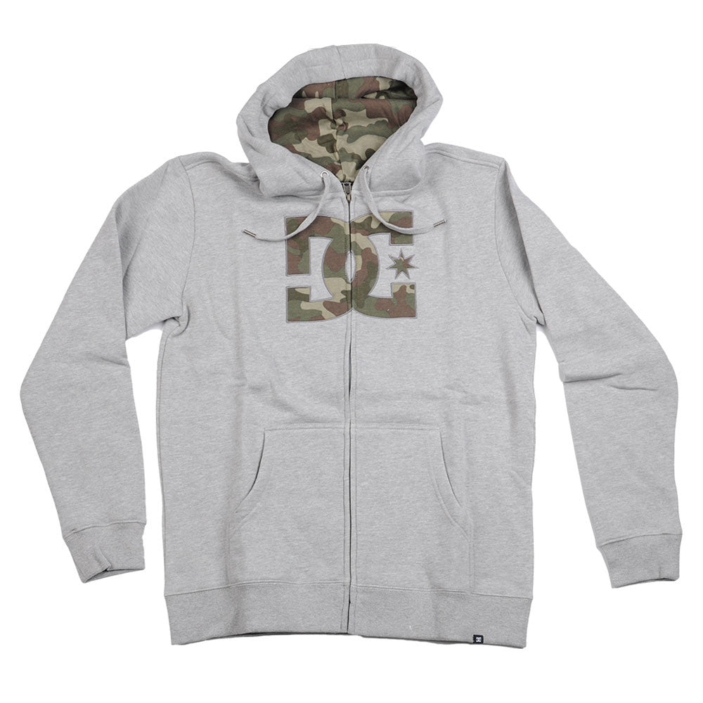 DC Hookup Zip-up Hooded - Grey/Camo - Men's Sweatshirt