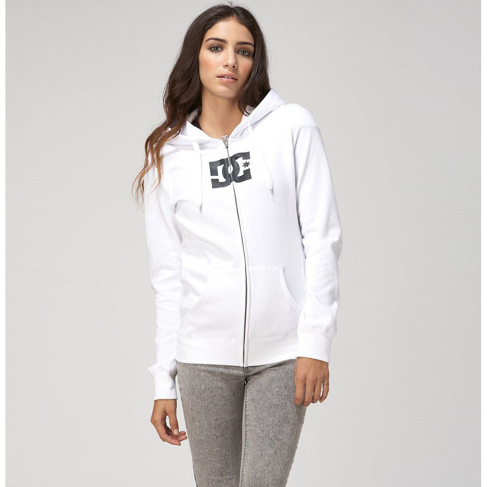 DC Star E ZH Zip Up Hooded - Bright White WBB0 - Women's Sweatshirt