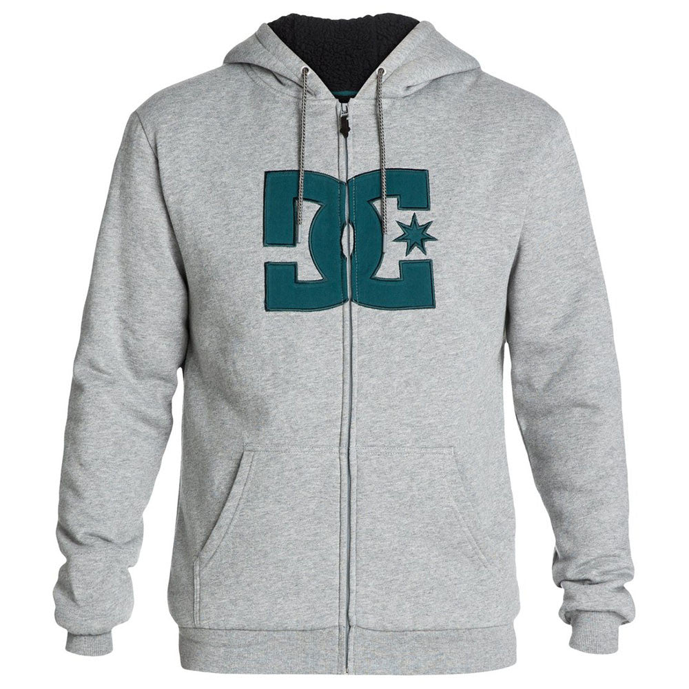 DC Star Sherpa Zip Up Hooded - Steel Grey KNFH - Men's Sweatshirt