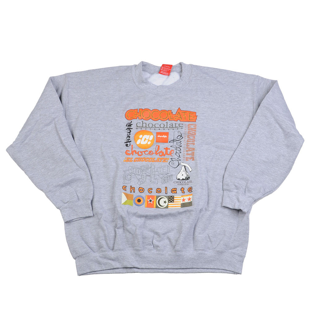 Chocolate Logo Blitz Crew - Heather Grey - Men's Sweatshirt