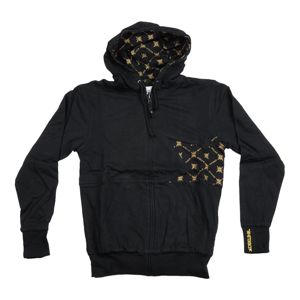 Dekline Icon Thorn Zip Hoodie - Black/Black/Gold - Men's Sweatshirt