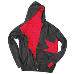 Dekline Icon Thorn Zip Hoodie - Grey/Red/Black - Men's Sweatshirt
