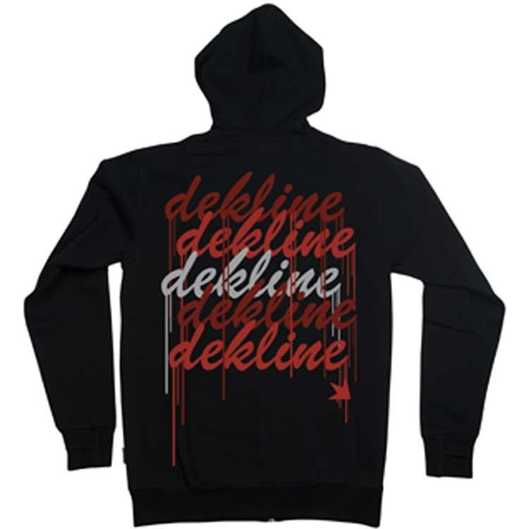 Dekline Drips Zip Hoodie - Black Fleece-Red/Grey - Men's Sweatshirt