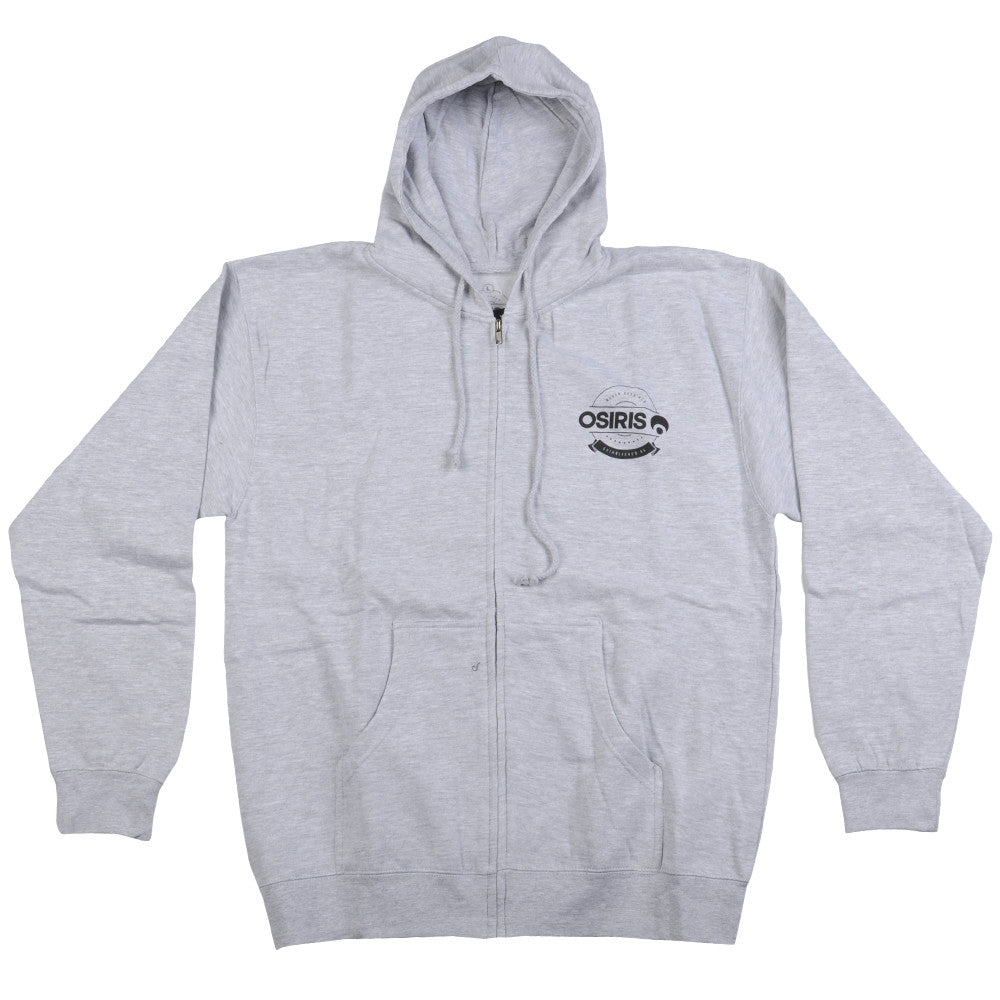 Osiris Foil Zip-Up Hooded - Heather Grey - Men's Sweatshirt