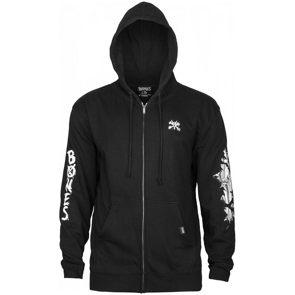 Bones Wheels Shred Zip Up Hooded - Black - Men's Sweatshirt