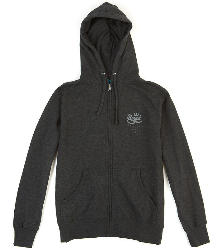 Royal Crown Crest Zip Hood - Charcoal - Men's Sweatshirt