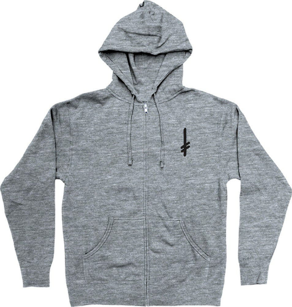 Deathwish Gang Logo Metal Layer Zip Hoodie - Grey - Men's Sweatshirt