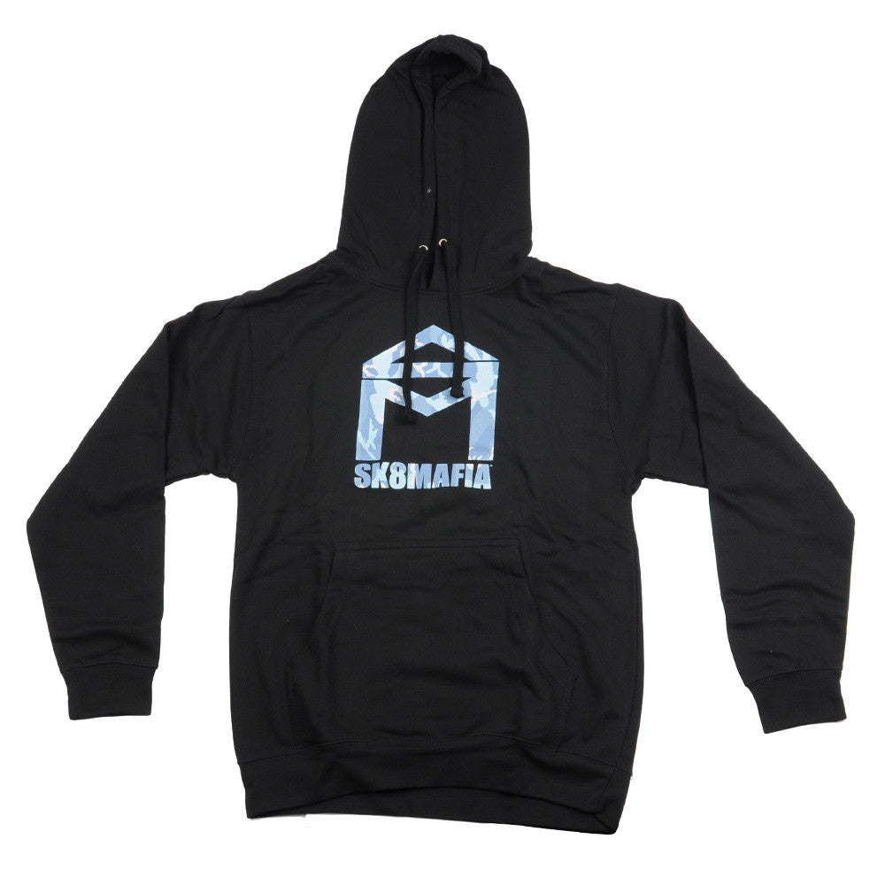Sk8mafia House Logo Snow Camo P/O Hooded - Black - Men's Sweatshirt