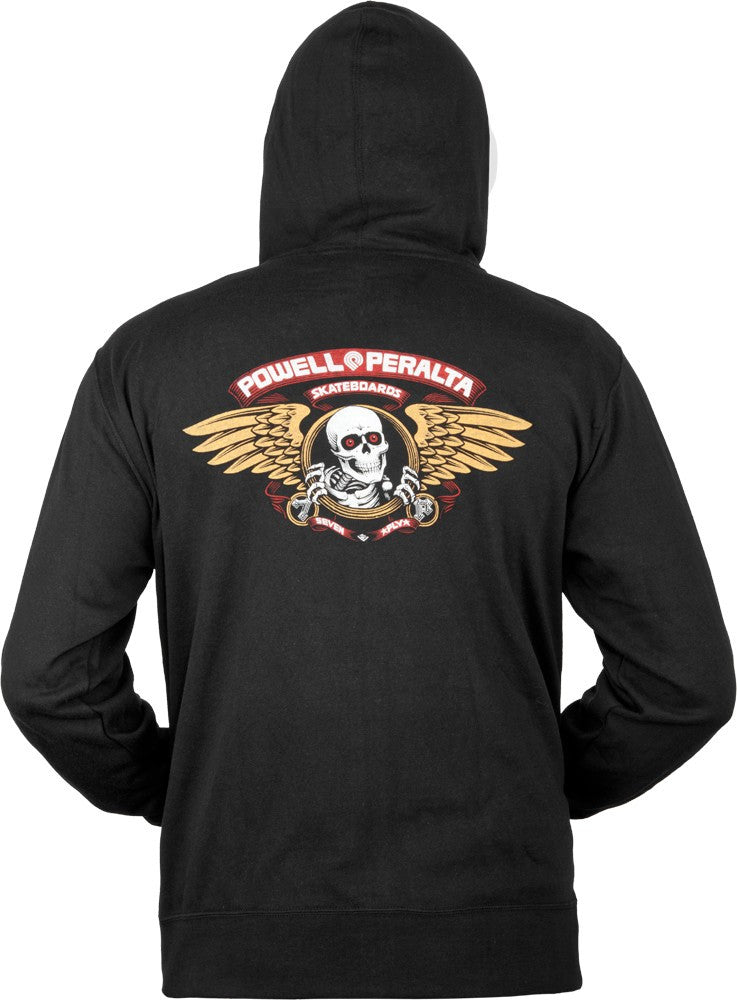 Powell-Peralta French Terry Winged Ripper Hooded Zip - Black - Men's Sweatshirt