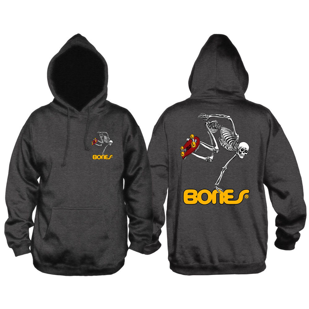 Powell Peralta Skateboarding Skeleton Hooded Pullover - Charcoal - Men's Sweatshirt