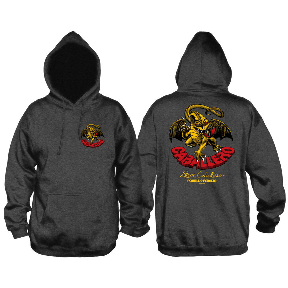 Powell Peralta Steve Caballero Dragon Hooded Pullover - Charcoal - Men's Sweatshirt