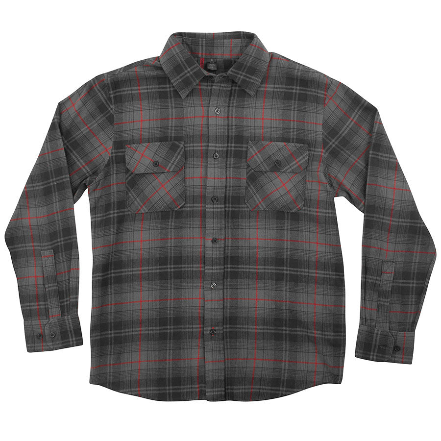 Independent Master Button Up L/S Top - Grey/BlackRed Plaid - Men's Collared Shirt
