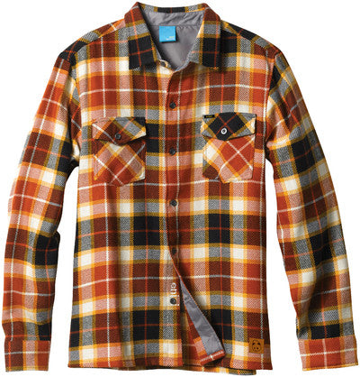 Enjoi Not Bad Plaid L/S Woven Top - Orange - Men's Collared Shirt