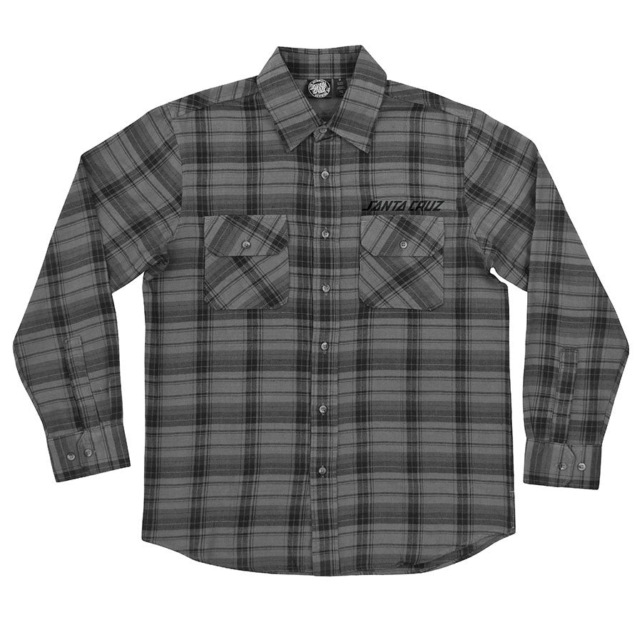Santa Cruz Strip Button Up L/S Top - Grey Plaid - Men's Collared Shirt