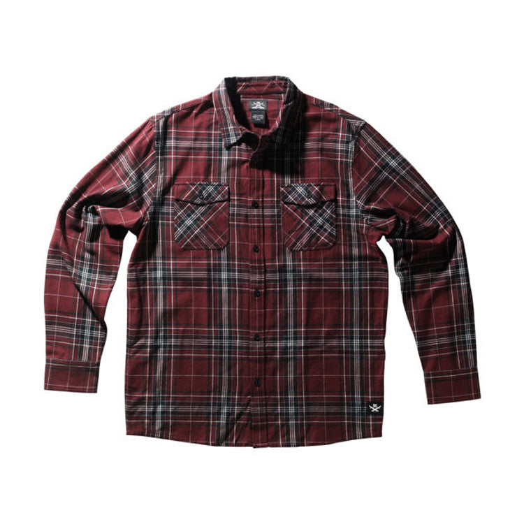 DC Skateboarding Falcon LS - Oxblood - Men's Collared Shirt