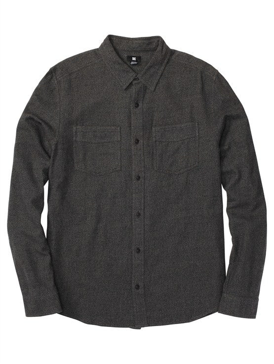 DC Seneca L/S - Heather Black - Men's Collared Shirt