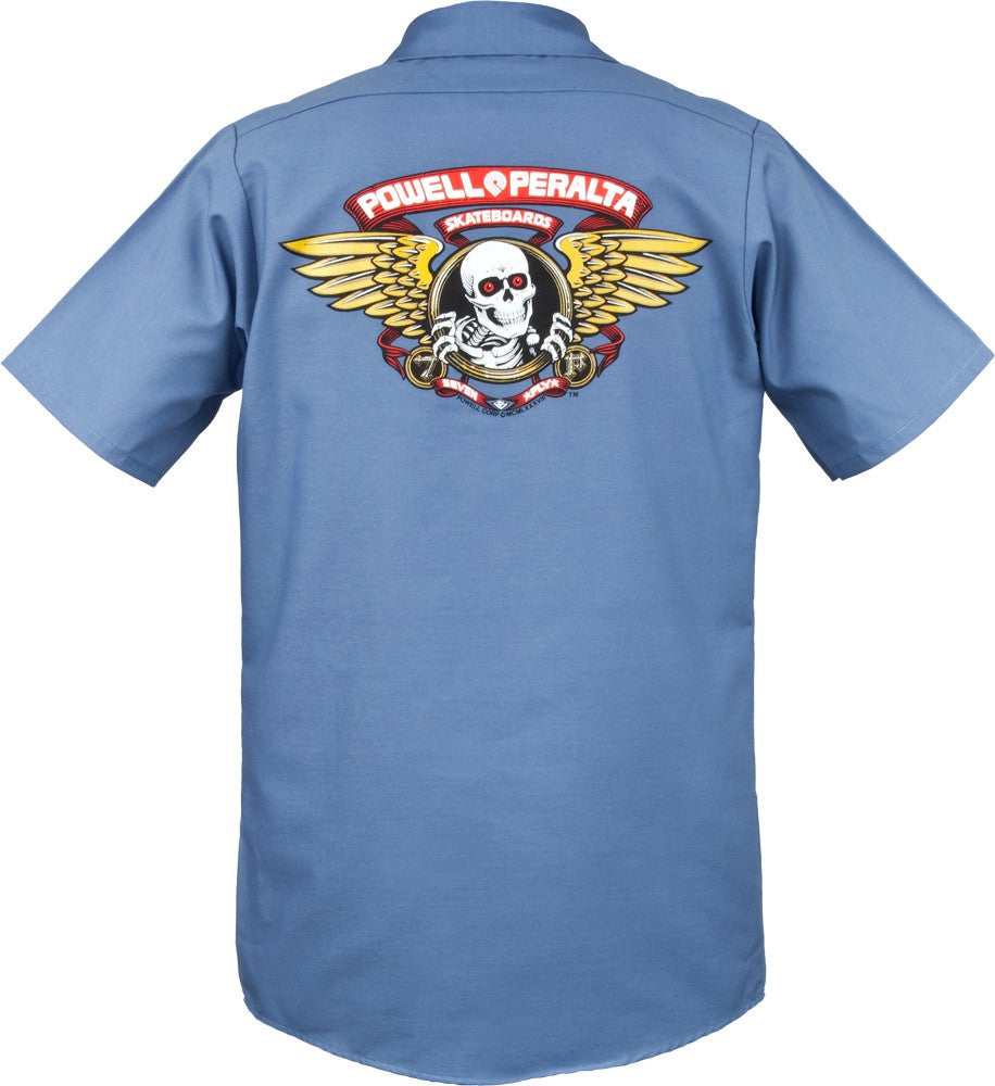 Powell-Peralta Winged Ripper Work Shirt - Postal Blue - Men's Collared Shirt