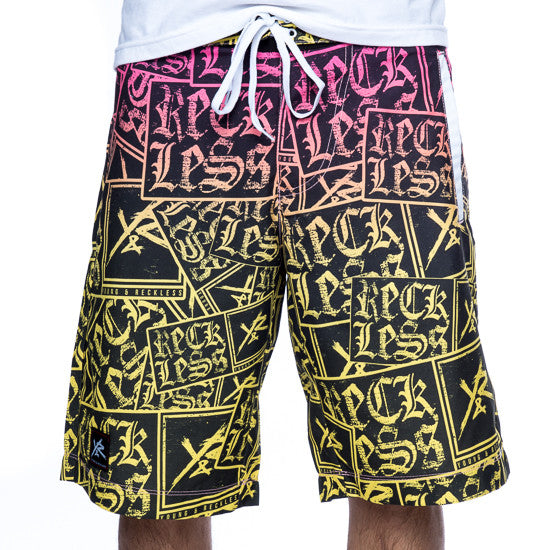 Young and Reckless Gangster Repeat Boardshorts - Pink - Men's Shorts