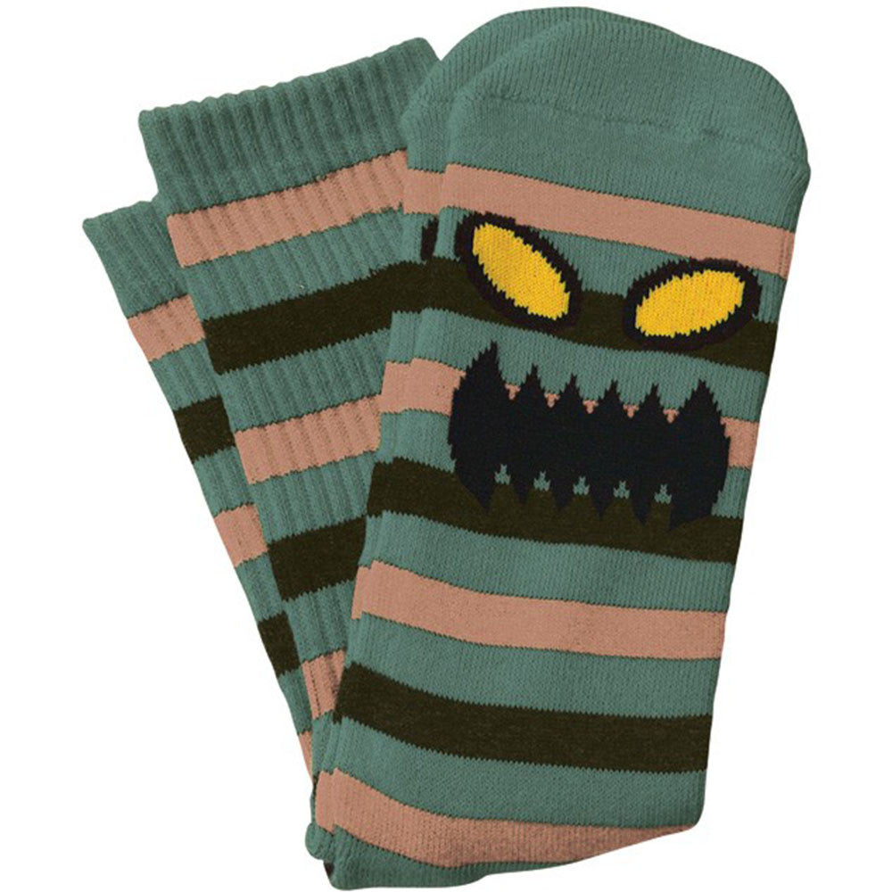 Toy Machine Monster Stripe - Green/Brown - Men's Socks (1 Pair)