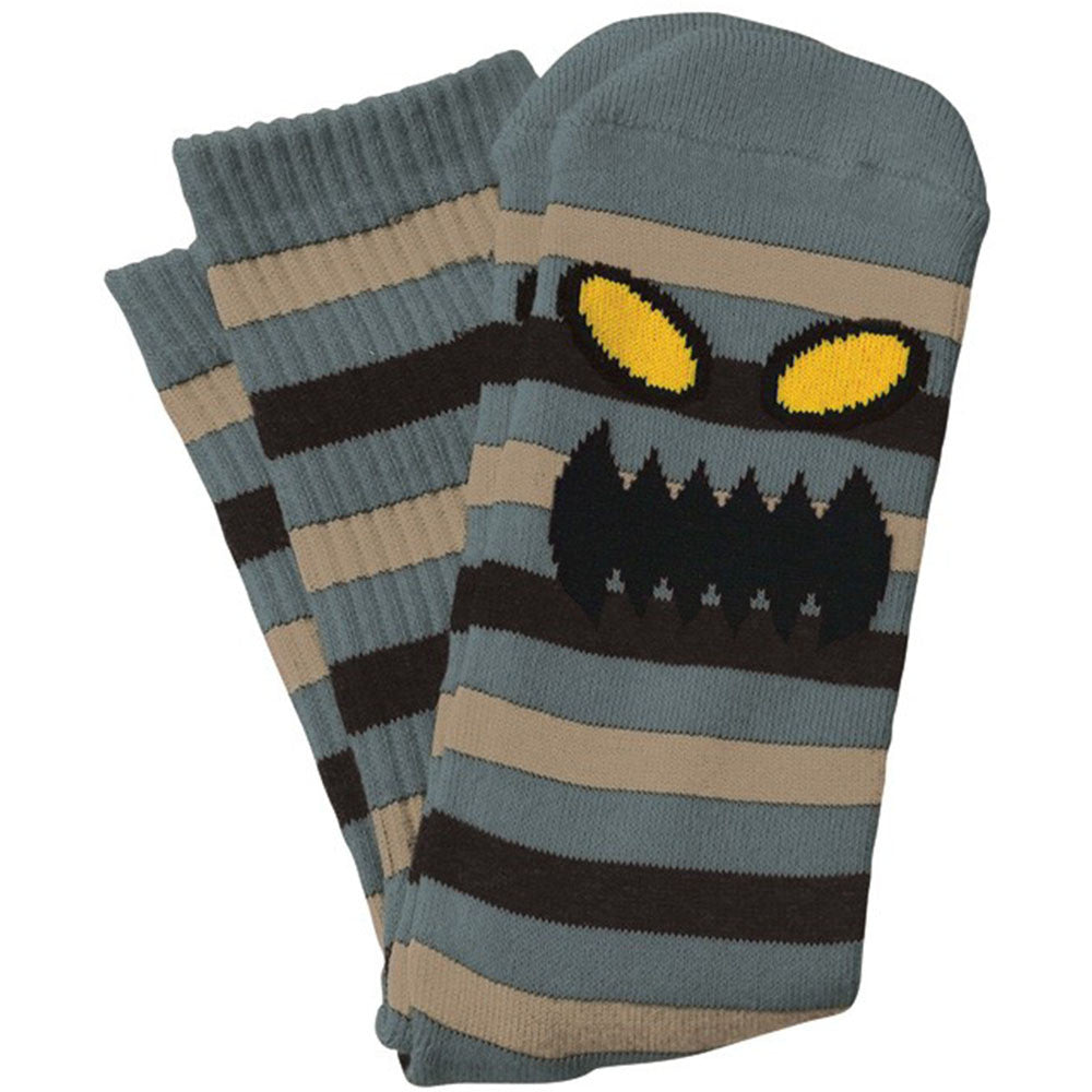 Toy Machine Monster Stripe - Grey/Tan - Men's Socks (1 Pair)
