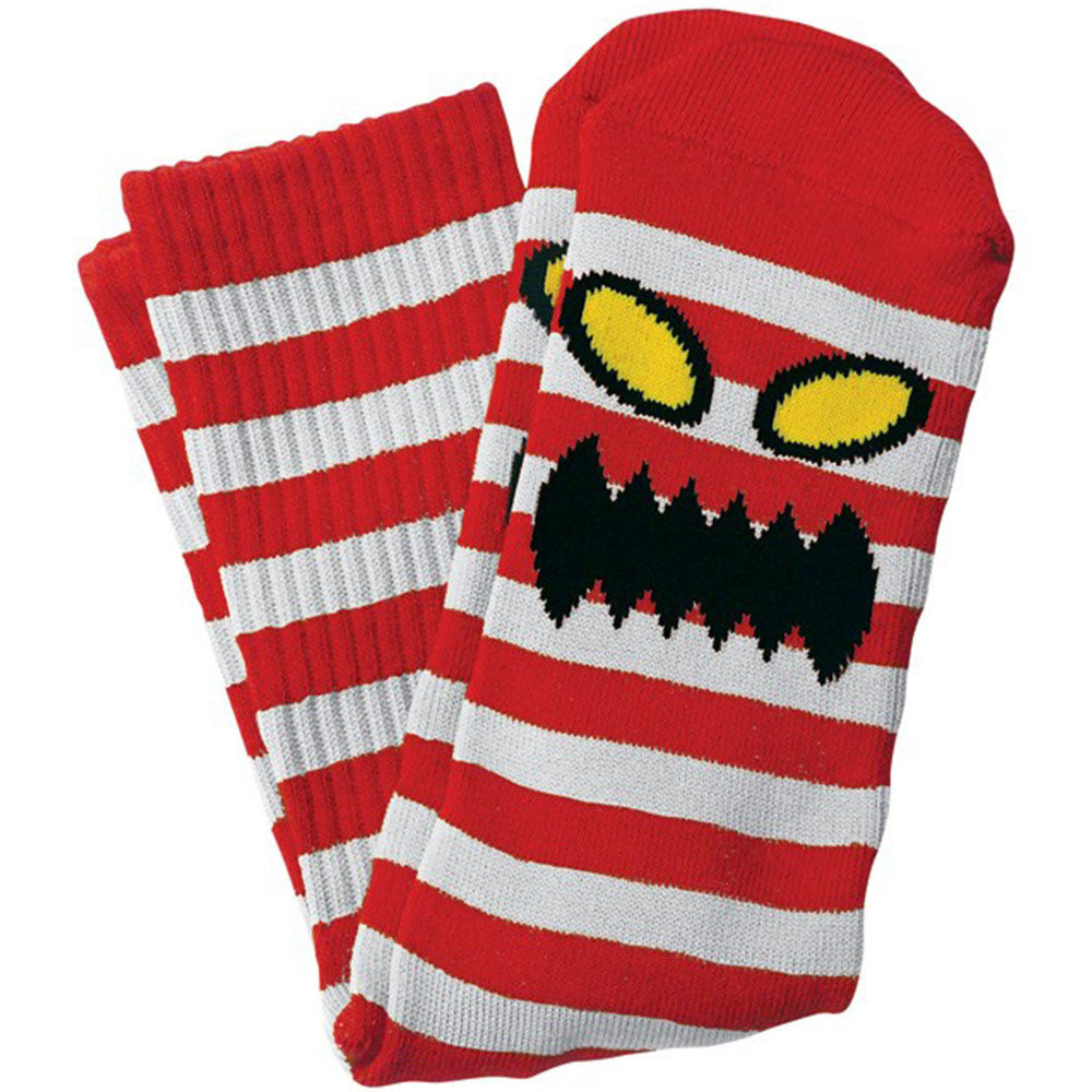 Toy Machine Monster Stripe - White/Red - Men's Socks (1 Pair)