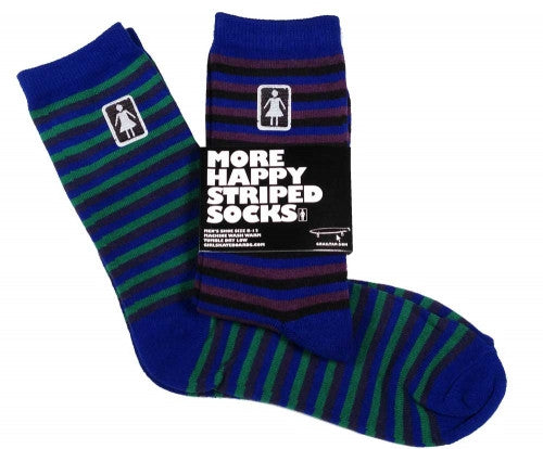 Girl Striped Happiness - Blue/Black - Men's Socks (1 Pair)