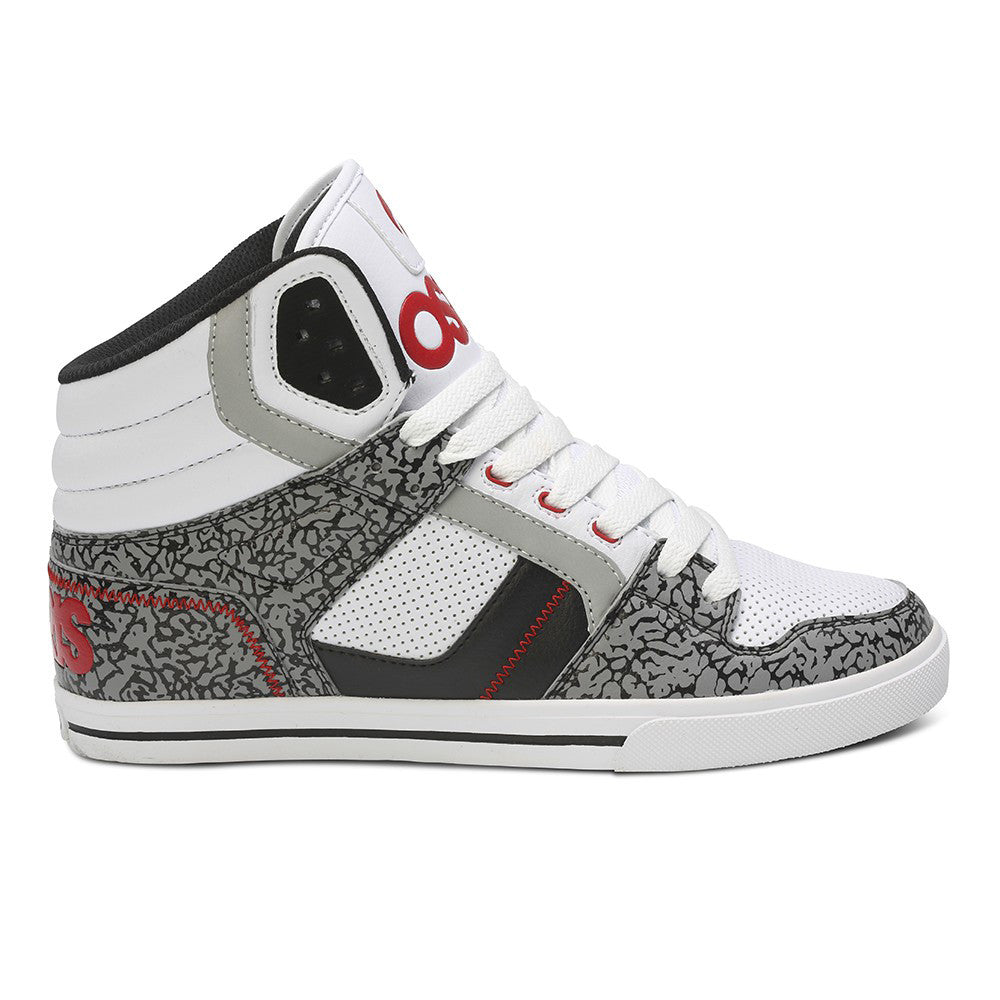 Osiris Clone - White/Red/Elephant - Men's Skateboard Shoes