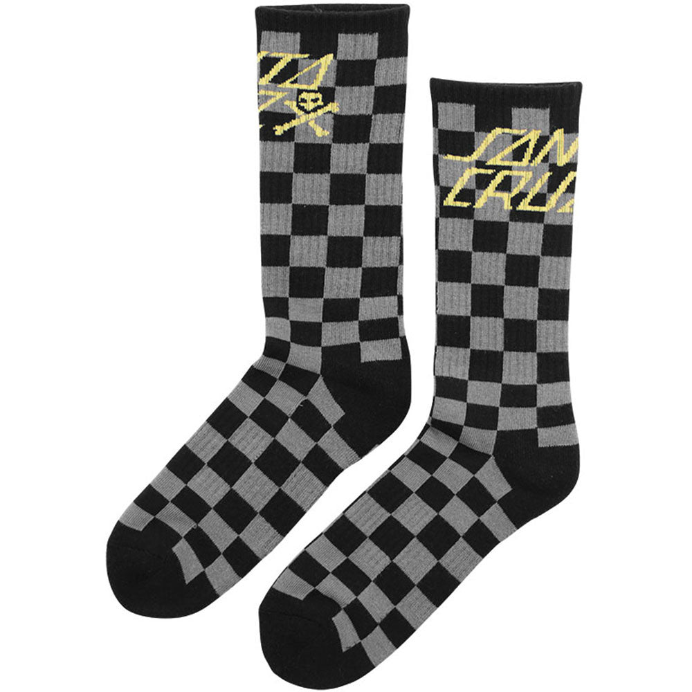 Santa Cruz Kicker Crew - Black/Grey Checker - Men's Socks (2 Pairs)
