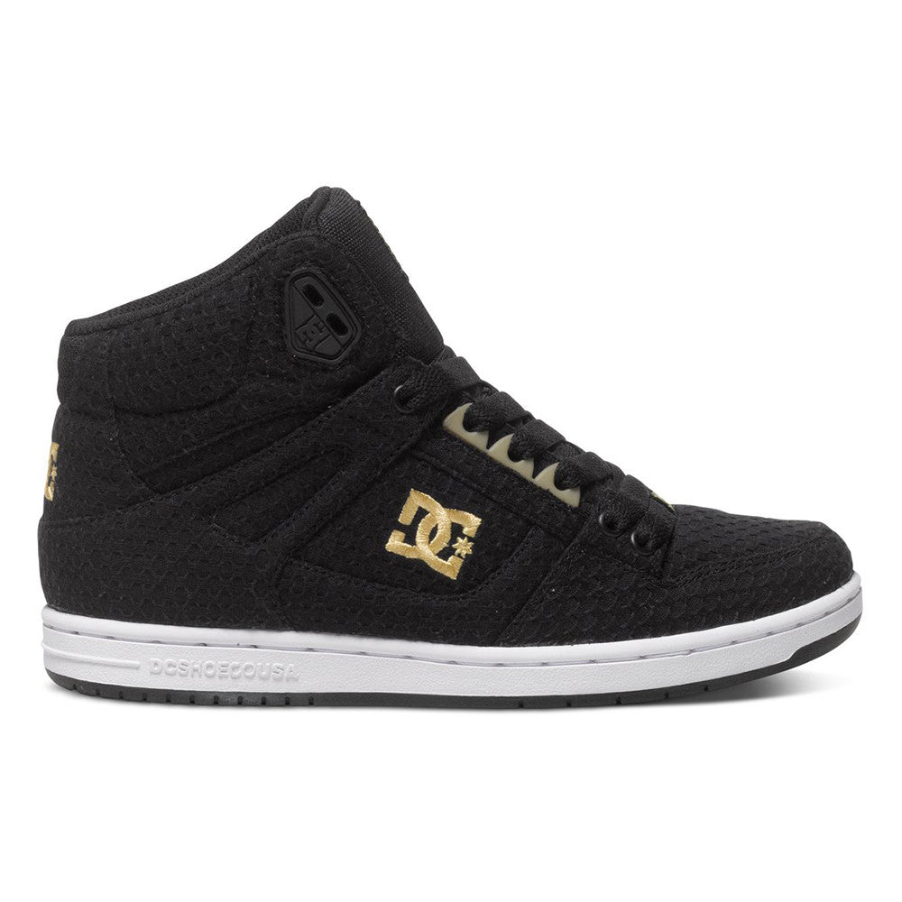 DC Rebound High TX - Black/White/Gold KWG - Women's Skateboard Shoes