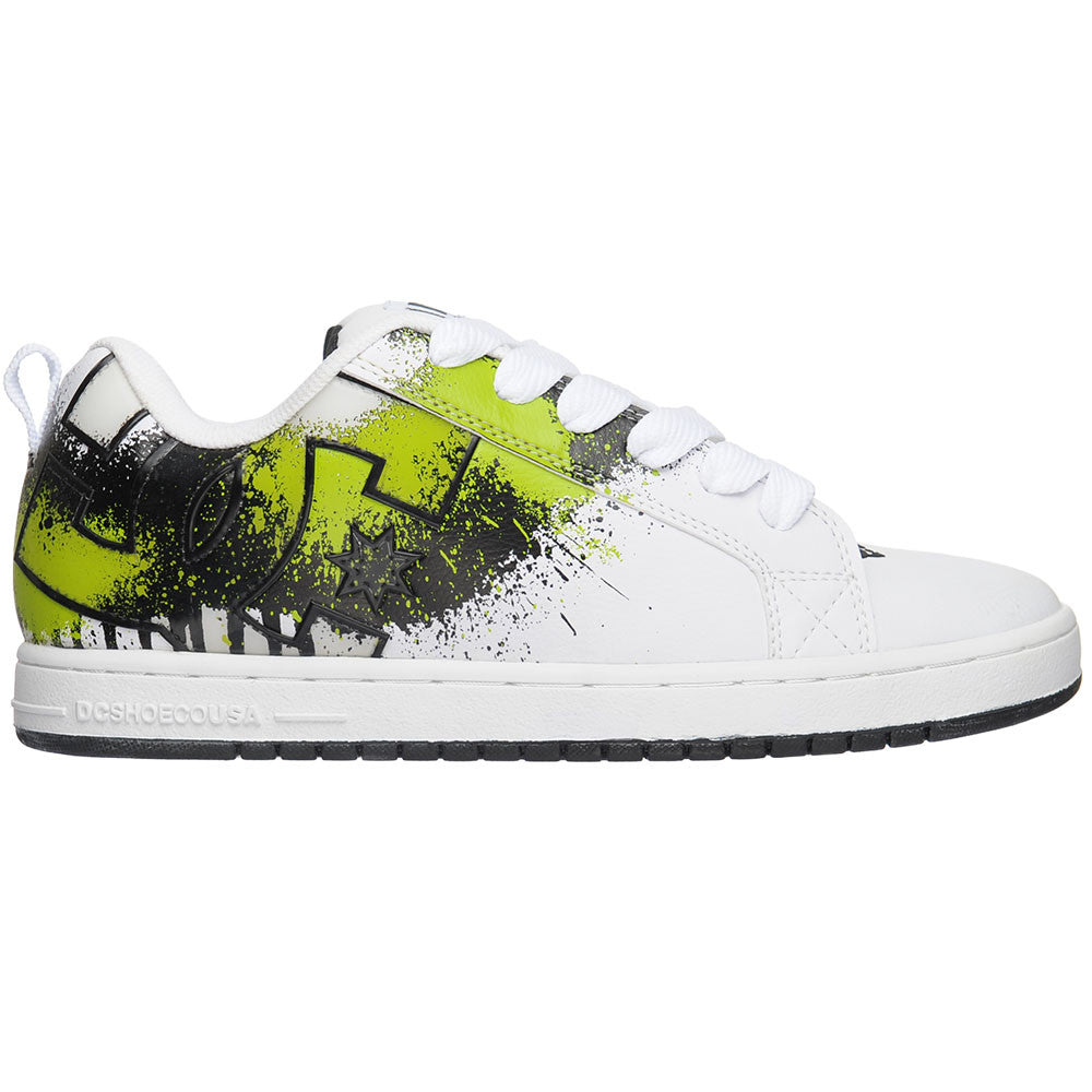 DC Court Graffik SE - White/Soft Lime/Black (1LB) - Men's Skateboard Shoes