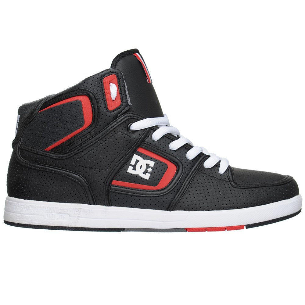 DC Factory Lite High - Black/White/True Red (BWU) - Men's Skateboard Shoes