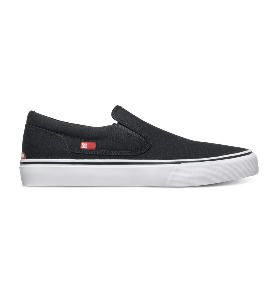 DC Trase Slip-On - Black/White (BKW) - Men's Skateboard Shoes