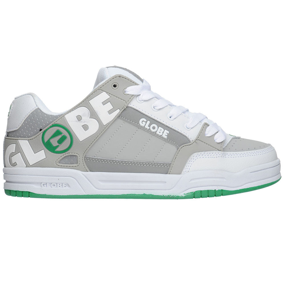 Globe Tilt - White/Grey/Green TPR - Men's Skateboard Shoes