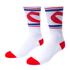 Chocolate Chunk C Stripe - White - Men's Socks (1 Pair)
