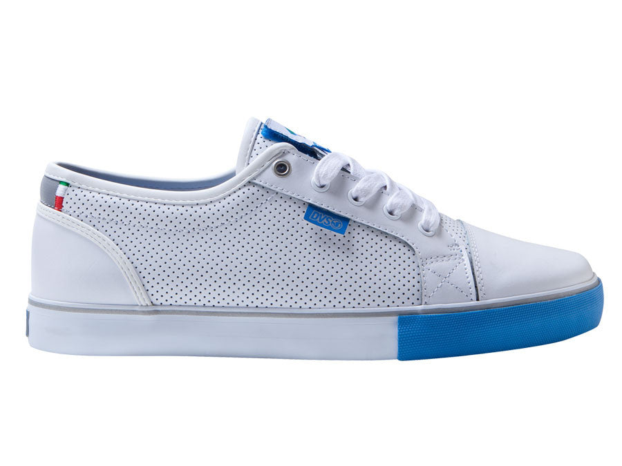 DVS Luster - White/Blue Leather Cinelli 100 - Skateboard Shoes