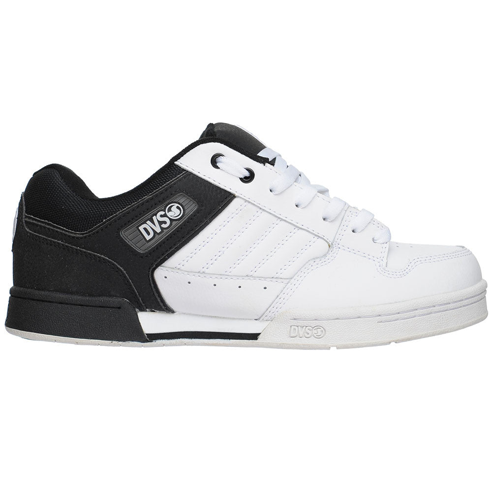 DVS Durham - Black/White Action Leather - Men's Skateboard Shoes