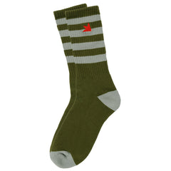 Dekline Striped - Army Green/Grey - Mens Socks (1 Pair)