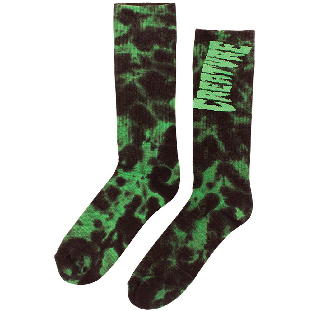 Creature Toxsocks Crew - Black/Green Tie Dye - Men's Socks (2 Pairs)