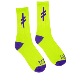 Deathwish Gang Logo - Green/Purple - Men's Socks (1 Pair)